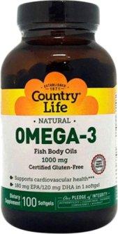 Жирные кислоты Country Life Omega-3 (Омега-3 рыбий жир) 1000 мг 100 капсул (015794044970)