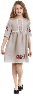 Платье-вышиванка Edelvika 261-19/08 ШФ 128 см Бежевое (2100000433575)
