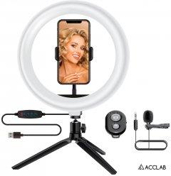 Комплект блогера 4в1 ACCLAB Ring of Light (Держатель с LED лампой, микрофон и Bluetooth управление, AL-LR101MB) (1283126502057)