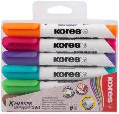 Набор маркеров Kores для белых досок 1-3 мм 6 цветов (K20802)