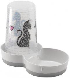 Автоматическая кормушка-поилка для собак и кошек Moderna Tasty Cats In Love 2в1 27х15х21 см 1.5 л Белый (5412087012343)