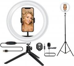Комплект блогера 5в1 ACCLAB Ring of Light (Держатель с LED лампой, штатив, микрофон, bluetooth управление, AL-LRSET2) (1283126502064)