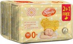 Детские влажные салфетки Smile Baby с экстрактом ромашки, алоэ и витаминным комплексом 3 x 60 шт (4823071636598)