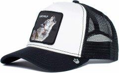 Кепка Бейсболка Тракер с сеткой Goorin Brothers Animal Farm Lone Wolf с Волком Черно-белая