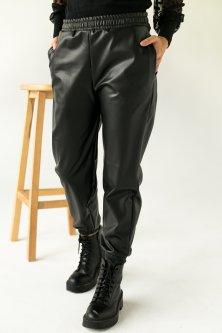 Кожаные джоггеры утепленные с бархатом Crep - черный цвет, M (8061-1)