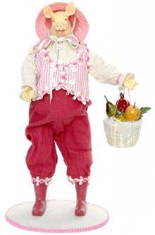 Фигурка Scorpio Свинка с корзинкой Бело-Розовая 50 см (4820005703173)