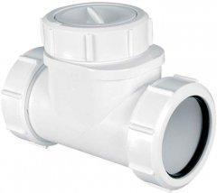 Патрубок пластиковый McALPINE с обратным клапаном 40х40 мм (5036484045836)