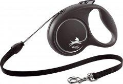 Поводок-рулетка Flexi Black Design М трос 5 м Серебристая (4000498033401)