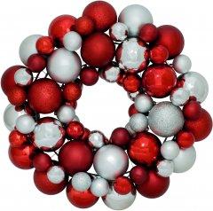 Венок декоративный Jumi с елочных пластиковых шариков 34 см Красно-серебристый (5900410379183)