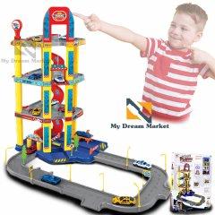 Автотрек Гараж - Дитячий автомобільний ігровий трек з 4 машинками з автоматичним ліфтом - класний розвиваючий навчальний набір для дітей від 3 років