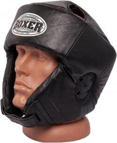 Шлем каратэ Boxer L 0.8-1 мм кожа Черный (2029-01BLK)