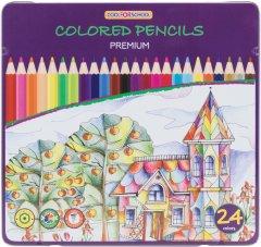 Цветные карандаши Cool for school Premium шестигранные 24 цвета в металлической коробке (CF15174)