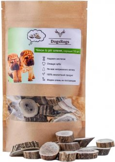 Натуральное лакомство для собак DogsRogs Чипсы из рог оленя среднетвердые 10 шт (4820245120198)