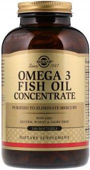 Жирные кислоты Solgar Omega-3 Fish Oil Concentate Рыбий жир в Капсулах концетрат 240 капсул (033984016996)