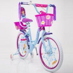 """Велосипед для дівчаток FROZEN 20"""" Крижане Серце блакитно-рожевий з кошиком та сидінням для ляльки"""