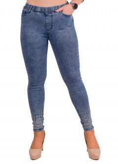 Стрейчеві джинси жіночі зі стразами Ластівка А1046-2-B 32 Розмір 50-52