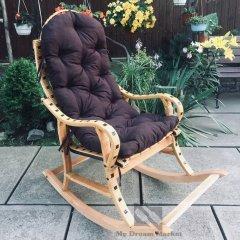 """Садове крісло качалка """"Ротанг"""" з лози Лоза Карпат - садові меблі вулична з лози для саду для дачі альтанки вулиці - терасна елітна садова плетені меблі для дачі з подушкою, Бежевий"""