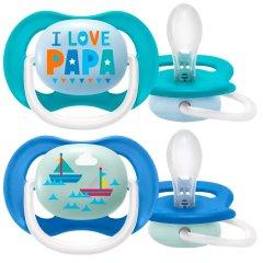 Пустышка ортодонтическая Philips Avent Ultra Air I love... для мальчиков 6-18 месяцев (8710103949251)