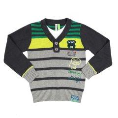 В'язаний светр NANO F1421-03 сірий з зеленим 136 - 146 см (F1421-03-10)