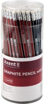 Набор карандашей графитных Axent НВ с ластиком 4 цвета корпуса тубус 100 шт (9003/100-A)