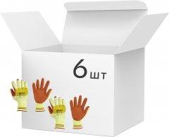 Упаковка перчаток трикотажных с латексным покрытием Mover Класс вязания 10 Размер 10 6 шт Оранжевые (NLX-CR009-10)