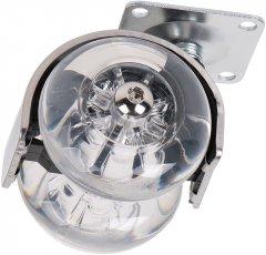 Ролик пластиковый с площадкой Ferro Fiori R 10010 50 мм нагрузка 35 кг Хром/Прозрачный (VR46042)