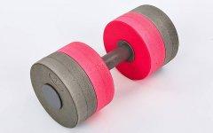 Гантеля для аквааэробики круглая разборная 1 шт Mad Wave Round Bar Float EVA Серый-розовый (СПО M082502)