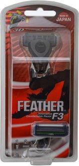 Станок для бритья Feather F3 Кассетный + 2 запасных лезвия (4902470463407)