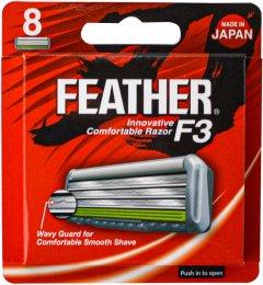Сменные картриджи для бритья (лезвия) Feather F3 8 шт (4902470254135)