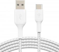 Кабель Belkin USB-A - USB-С Braided 3 м White (CAB002BT3MWH)