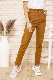 Жіночі джинси МОМ з гумкою на талії коричневого кольору розмір 30 FG_03977