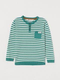 Джемпер H&M 1003-6483061 122-128 см Білий із зеленим у смужку (hm02350139588)
