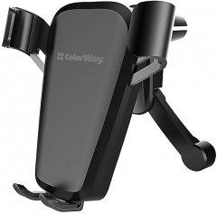 Автодержатель для телефона СolorWay Soft Touch Gravity Holder Black (CW-CHG03-BK)