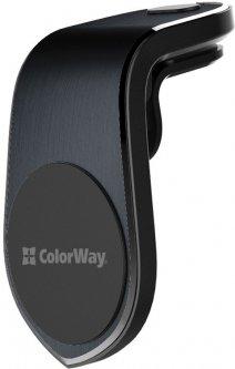 Автодержатель для телефона СolorWay Metallic Air Vent-1 Black (CW-CHM04-BK)