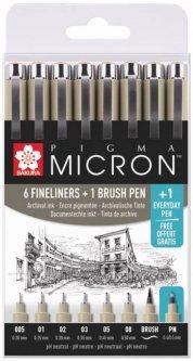 Набор линеров Sakura Pigma Micron 6 шт 1 линер-кисть Pigma Brush + Pigma Micron PN в подарок (8712079421731)