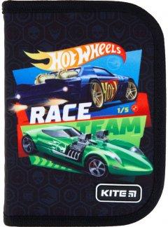 Пенал с наполнением Kite Education Hot Wheels 1 отделение 2 отворота Черный (HW21-622H)