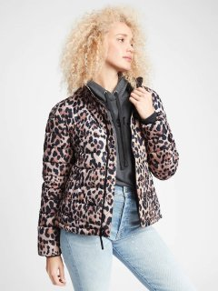 Стеганая теплая женская куртка GAP art260298 (Леопардовый, размер M)