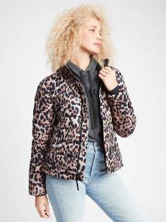 Стеганая теплая женская куртка GAP art941689 (Леопардовый, размер S)