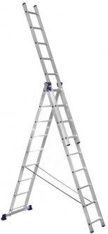 Алюминиевая трехсекционная лестница Техпром 3х9 ступеней (H3 5309)