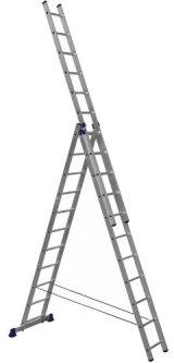 Алюминиевая трехсекционная лестница Техпром 3х11 ступеней (H3 5311)