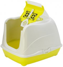 Туалет закрытый для кошек Moderna Flip Cat Jumbo 58х45х42 см Лимонный (5412087007462)
