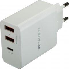 Сетевое зарядное устройство Canyon 2USB 2.4A PD White (CNE-CHA08W)