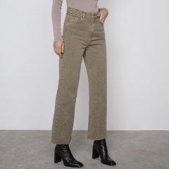 Джинси жіночі широкі з необробленим краєм Khaki Berni Fashion (36) Хакі (57948)