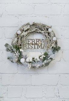 Рождественский венок СolorWay Merry Christmas из натуральных веток ротанга 41 см White (CW-MCW-41W)