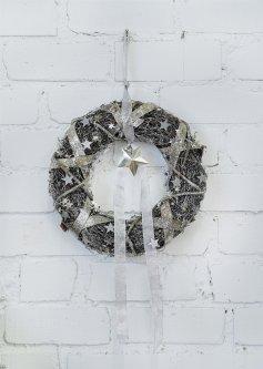 Рождественский венок СolorWay Merry Christmas из натуральных веток ротанга 35 см Dark Gray (CW-MCW-35DG)