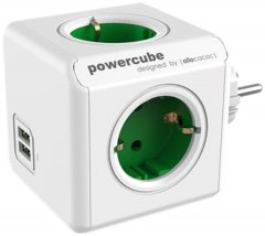 Сетевой удлинитель Allocacoc PowerCube Разветвитель 4 розетки 2 USB Зеленый (1202GN/DEOUP)