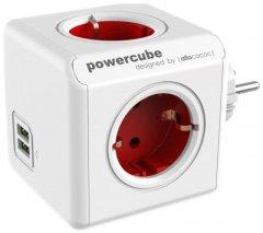 Сетевой удлинитель Allocacoc PowerCube Разветвитель 4 розетки 2 USB Красный (1202RD/DEOUP)