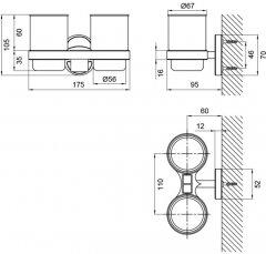 Стакан для ванной Kroner (KRM) Elbe-ACG2908 с держателем зубных щеток