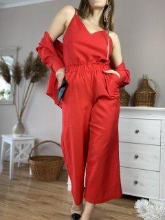 Штаны-кюлоты женские красные из льна летние с карманами и поясом-резинкой размер L (PNT1x3)