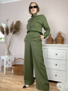 Штаны-палаццо женские зеленые хаки из льна летние с карманами и поясом-резинкой размер M-L (PNT2x2)